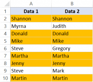 Compare two columns and highlight matching cells