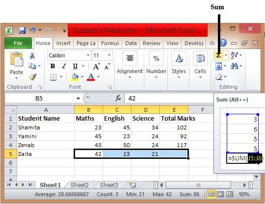 Excel Formulas Sum