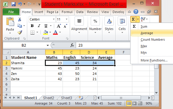 Excel formulas Average