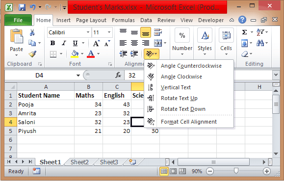 how to rotate cells in excel