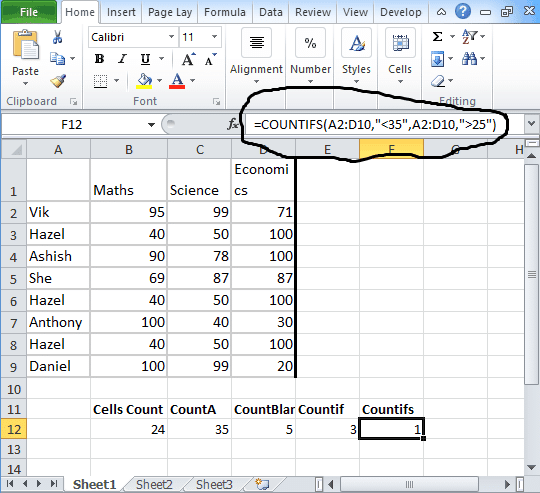Countifs in excel