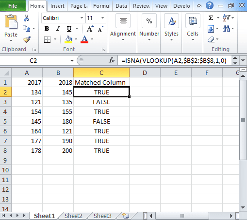 Excel Compare two columns