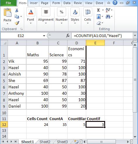 Excel Countif