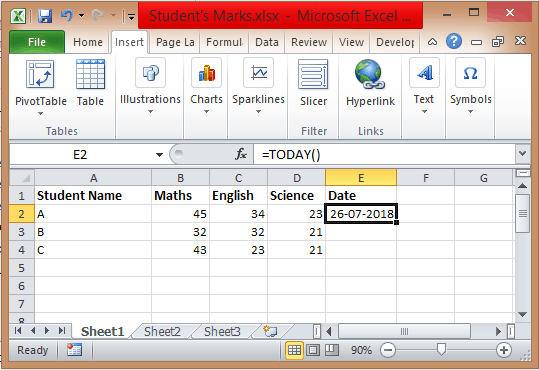 Excel Current date