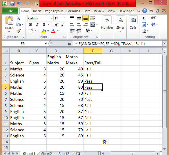 Excel If functions