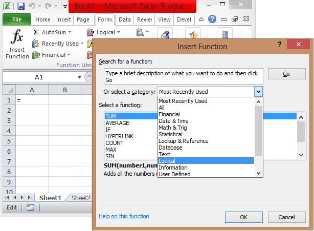 Excel inbuilt functions