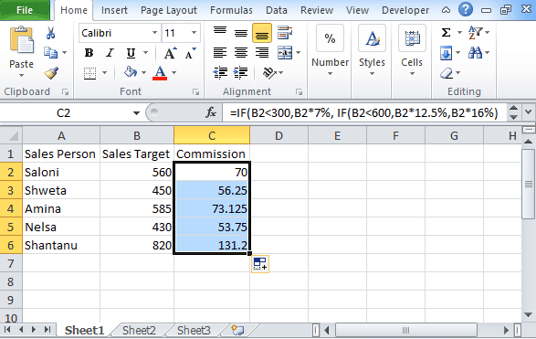 Excel logical test
