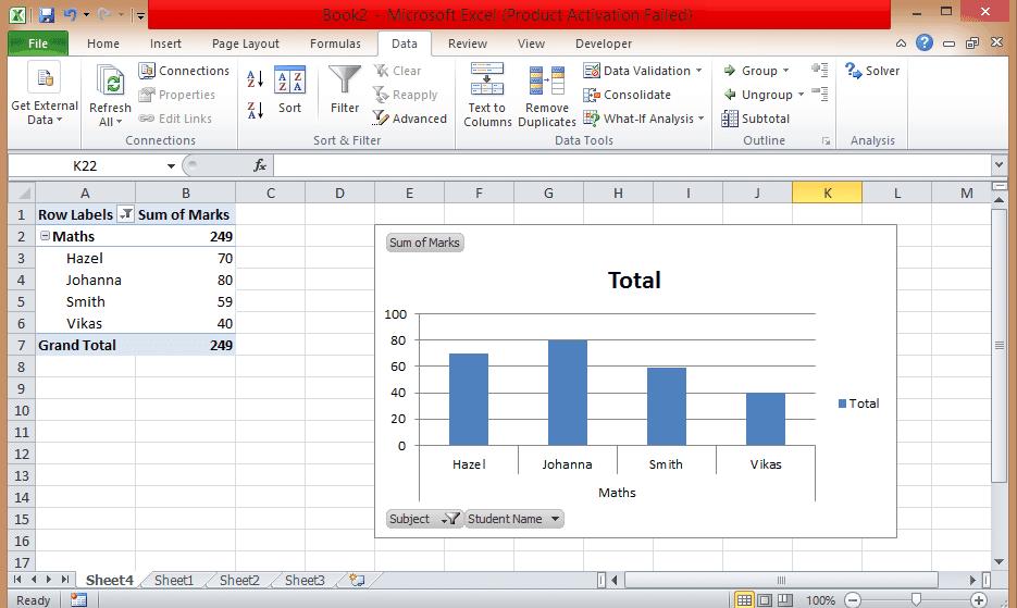 Filter pivot chart