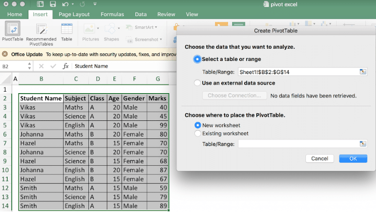 How to create pivot table in excel