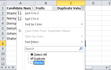 How to find duplicates in excel using filter