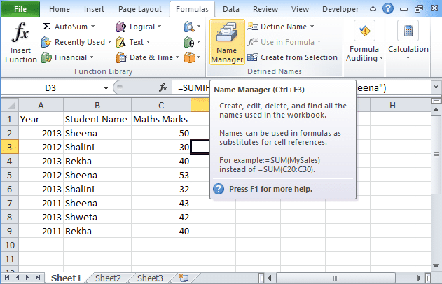 SumIfs function in excel