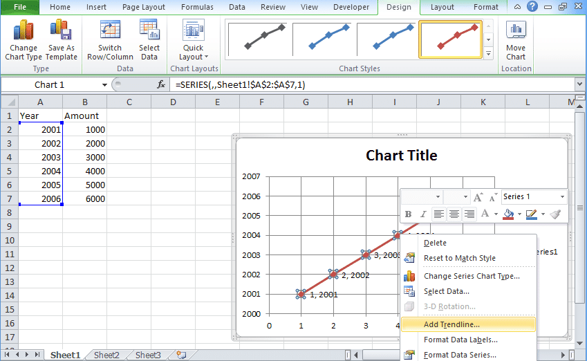 Scatter graph in excel