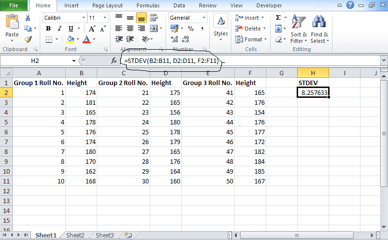 Standard Deviation in Excel: Calculate (STDEV function