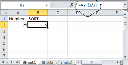 excel square root