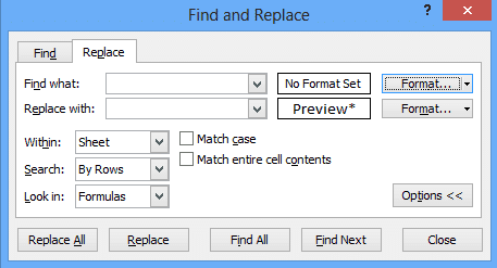Excel find and replace function