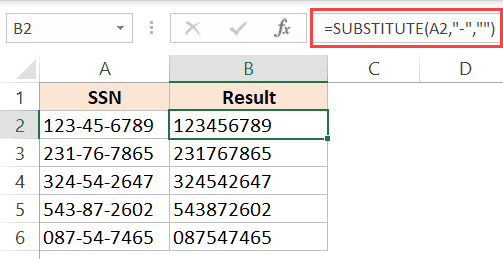 Substitute formula to remove dashes hyphens in Excel